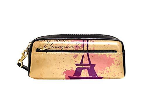 Stifttasche mit Reißverschluss 2 Fächer Stifthalter für Schüler Eiffelturm Französisch Kursiv Eiffelwort Pastell Spritzer Retro Dekoratives Muster