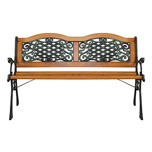 Manoch 49 inch Patio Furniture Porch Garden Bench Cast Iron Outdoor Chair Material: Iron & Hardwood & PVC Color: Bronze & Natural Weight Capacity: 330 lbs Dimensions: 50.8 x 24.4 x 5.1inch (L x W x H)