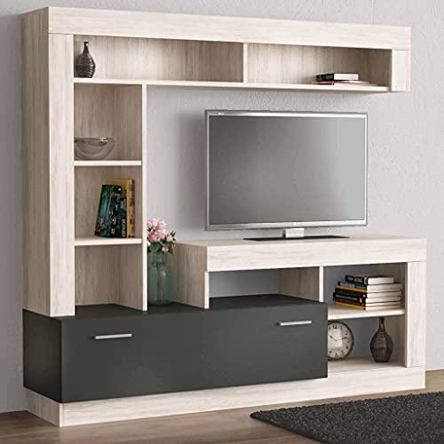 Milani Home s.r.l.s. Parete attrezzata Porta TV Soggiorno Moderna di Design 170 x 42 x 170 h