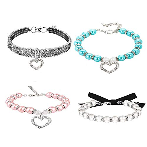 4 Pieces Dog Pearl Collars and Rhinestones Dog Collar Set, Pet Pearl Necklace Full Diamond Bling Adjustable Dog Collar for Small Cats Puppy Necklace Suit for Pet Wedding Birthday Party (White, S)