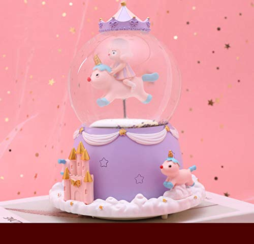 JMSHTU Globo de nieve musical con diseño de unicornio, de resina, color morado, en caja de...