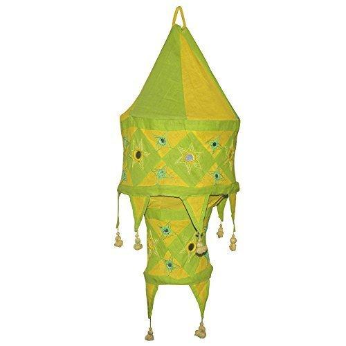 Indischer Lampenschirm grün - gelb 60cm Baumwolle Dekolampe Orient Hängelampe