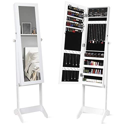 Homfa Espejo Joyero de Pie Armario para Joyas Organizador Joyas con Espejo Estantes Cerradura 3 Ángulo Ajustable Blanco Madera 36x36x152cm