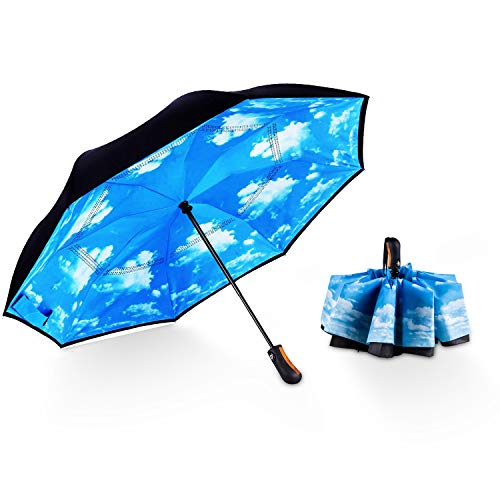 MPEDOUR 48 Inch Inverted Umbrella Windproof Compact Folding Reverse Umbrella Auto Open Umbrella with Double Layer Teflon Canopy for Men Women Travel Outdoor