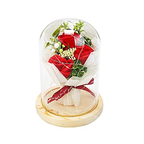 Cozywind Kit de Rosas La Bella y la Bestia, Rosa Eterna con luz LED, Elegante Cúpula de Cristal con Base Pino para el día de la Madre Día de San Valentín Día de Navidad (3 rosas)