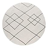 Paco Home Teppich Rund Wohnzimmer Kurzflor Mit Modernem Skandi Rauten Muster Hell, Grösse:200 cm Rund, Farbe:Weiß