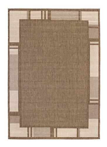 Andiamo 1100376 Web / Bordürenteppich Flachgewebe Louisville, 120 x 170 cm, braun / beige