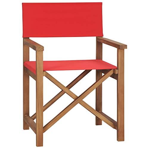 vidaXL Teak Massiv Regiestuhl Klappbar Gartenstuhl Campingstuhl Holzstuhl Klappstuhl Faltstuhl Regiesessel Sessel Schminkstuhl Stuhl Rot