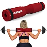 DMoose Hip Thrust Pad, Fit with Standard and Olympic Bars - Provides Cushion to Neck and Shoulders While Training - Protective Anti-Slip Foam Pad - RED