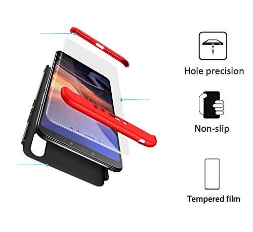 xinyunew Hülle kompatibel mit Xiaomi Mi Max 3+Panzerglas Schutzfolie,Superleichte Superdünne 3 in 1 PC Schutzhülle Etui Stoßfeste Kratzfeste Handyhülle mit 360 Grad R&umschutz Rot Schwarz