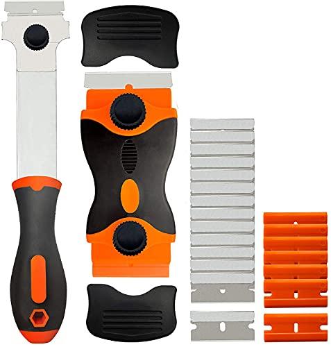 2 Pack Razor Blade Scraper, 2-in-1 Scraper Tool, Multi-Purpose Cleaning Razor Scraper for Decals, Stickers, Labels, Caulk, Adhesive, Paint Removal, with 20 Pcs Metal Blades and 10 Pcs Plastic Blades