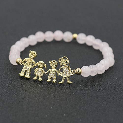Armband voor vrouwen, handgemaakte armband van natuurstenen parels, 7 chakra vintage armband natuurlijke rozenkwarts parels gouden micro cz meisjes jongen papa mama familie energie armband voor angst