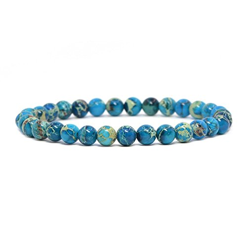 Dyed Blue Sea Sediment Jasper Gemstone 6mm Round Beads Stretch Bracelet 6.5 Inch Unisex