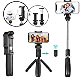 HILZO Selfie Stick Tripod with Extendable Wireless Bluetooth Remote [Compact All in One