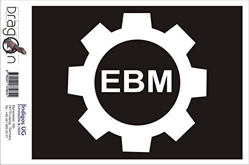 INDIGOS UG Aufkleber Autoaufkleber - JDM Die Cut Auto OEM - Bad Cop - Ebm Zahnrad - 120x120 mm weiß - Auto Laptop Tuning Sticker Heckscheibe LKW Boot