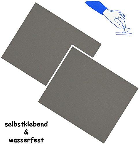alles-meine.de GmbH 2 Stück _ Selbstklebende Reparatur Aufkleber - Nylon -  dunkel grau  - wasserabweisend & wasserdicht - Sticker / Kleber - Flicken - für Bekleidung Regenarti..