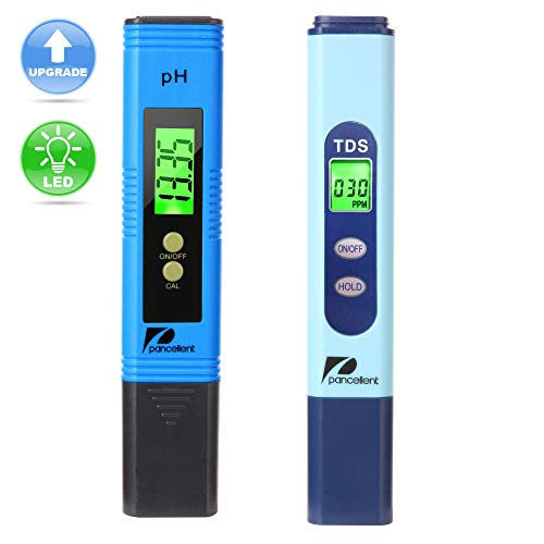 Pancellent Water Quality Test Meter TDS PH 2 in 1 Kit 0-9990 PPM Measurement Range 1 PPM Resolution 2% Readout Accuracy