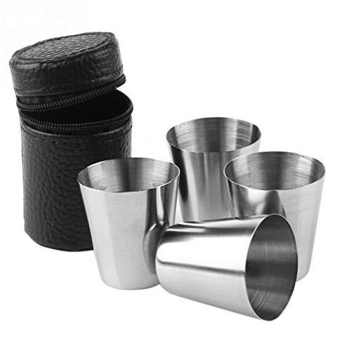 Gxklmg 4 Stück 30 ml-Edelstahl-Weingläser mit Storage Zipfach, Tasche beweglicher im Freien Trinkbecher, für den Pool, Camping, Cookouts, Reise