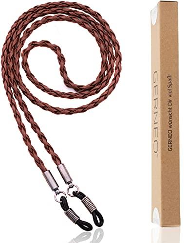 GERNEO® - Milán - cadena de cuero trenzado para gafas - cordón de cuero artificial unisex para gafas de sol y de lectura - soportes gris antracita