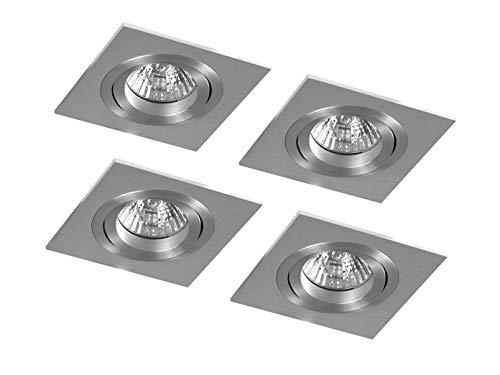 Lot de 4 spots halogènes encastrables LOUISE GU10 - En aluminium - Intensité variable - Orientable - 35 W - 230 lm - XQ0805