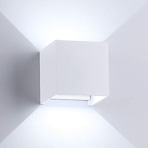 Applique Murale LED 13W Dimmable Lampe de Mur Moderne Blanc Etanche IP65 Interieur Exterieur Angle Reglable Blanc Froid 6000K pour Chambre Salle de bain Salon Couloir