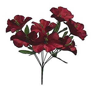LINESS for 5X Hibiscus Artificial Silk Flowers Centerpiece Fake Faux Bouquet Party Tropical DIY LINESS for Wedding Flowers, Petals & Garlands Floral Décor – Color is Burgundy/Wine