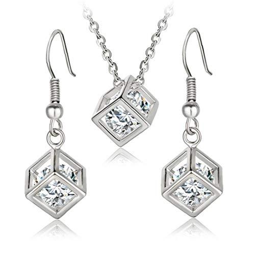 Conjunto de Joyas Pendientes Collar de la Mujer Colgante de Cristal Stud Moda para niñas Día de San Valentín Regalos de la joyería Accesorio