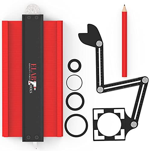 ELAB Tools®,Jauge de contour 25 cm avec règle de mesure multi-angle et guide de perçage| Copieur de contour | Jauge de contour verrouillable| Outillage idéal pour bricolage, carrelage, menuiserie