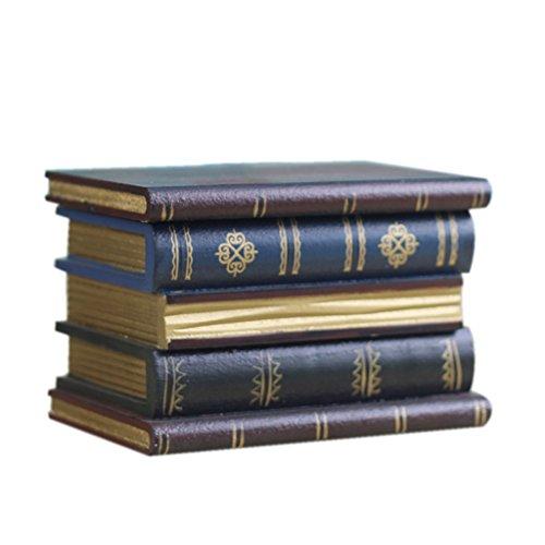 Power uk- Type de Livre Empilage Boîte à Bijoux à Trois Niveaux Bois Artisanat Ornements Rétro Boîte de Rangement Décorations
