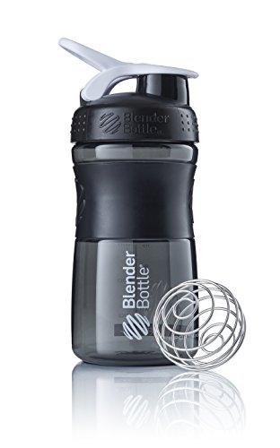 BlenderBottle Sportmixer Tritan Trinkflasche mit BlenderBall, geeignet als Protein Shaker, Eiweißshaker, Wasserflasche oder für Fitness Shakes, BPA frei, skaliert bis 500 ml, 590 ml, weiß / schwarz