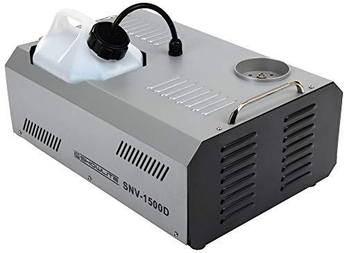 Showlite SNV-1500D DMX Vertikal-Nebelmaschine inkl. Funk- und Kabel-Fernbedienung (1500W, 560 m³ Nebelausstoß/min, 12 Min. Aufwärmzeit) silber