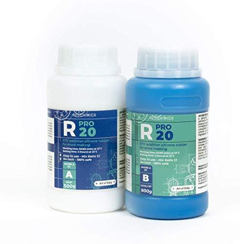 R PRO 20 (1 kg) è una gomma di silicone, 100% sicuro, NO tossica, liquida con catalizzatore al platino, media durezza e ad alta resistenza agli strappi, facile da usare (rapporto di miscelazione 1: 1)