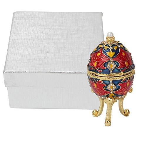 Liukouu Huevo de Pascua Estilo Vintage Pintado a Mano con Esmalte Rico y Caja de baratijas de Diamantes de imitación para Anillos de Almacenamiento, Collar y joyería, decoración única para el hogar
