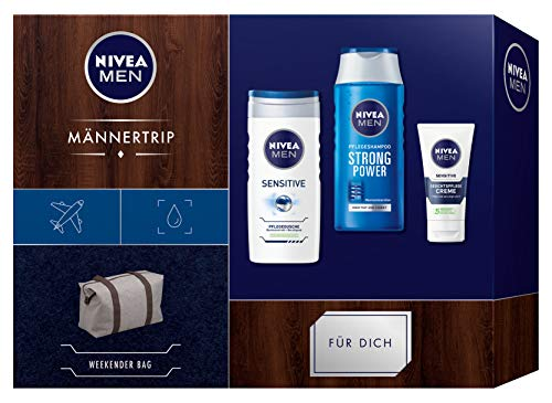 Nivea Men mannentrip cadeauset, weekendtas voor mannen, met verzorgingsshampoo, verzorgende douche en gezichtsverzorging, kerstcadeauset voor de verzorgde man