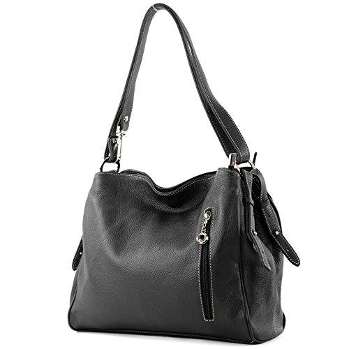modamoda de - T119 - ital Schultertasche Umhängetasche aus Leder, Farbe:Schwarz