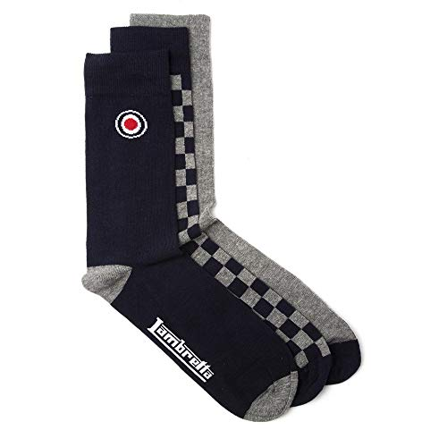 Lambretta Herren Check 3 Pack Casual Socks Socken Blau ONE SIZE