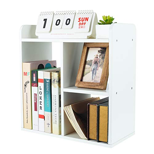 PAG Desktop Bookshelf Freestanding Countertop Bookcase Wood Desk Organizer Literature Photo Display Rack, White