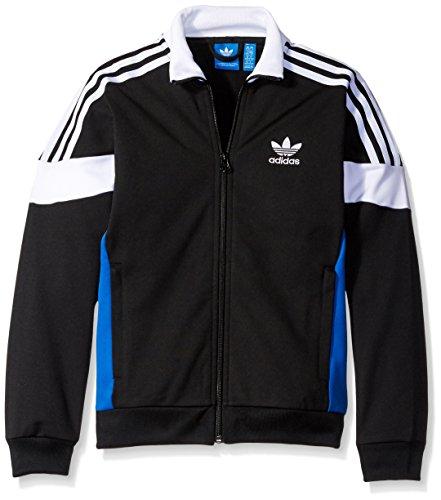 adidas Originals Outerwear Big Boys' Challenger Track Jacket, Black/White/Blue, XX-Small