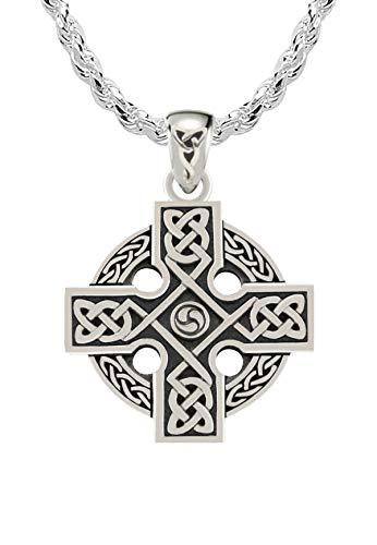 US Jewels Men's 925 Sterling Silver Irish Celtic Knotwork Cross Pendant 3mm Rope Necklace, 24'