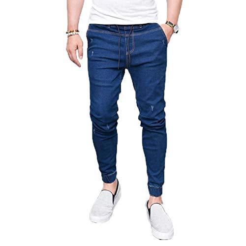 Jeans Herren Jeans Schnür Stretch Jeans Saison Jeans Flocking Weiche Herren Jeans Pants Für Männer XXL Navyblue
