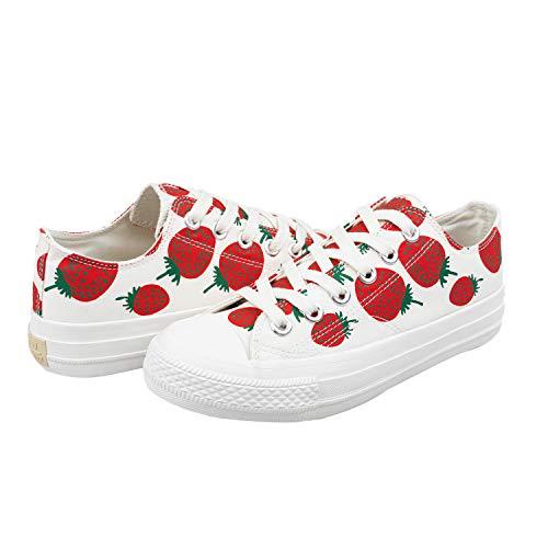 HotRoad Mujer Zapatillas Deportivas Casuales de Lona Canvas Corte Bajo para Verano Tenis Clásicas de Moda Sneakers Low Top, Fresa / 39 EU Women