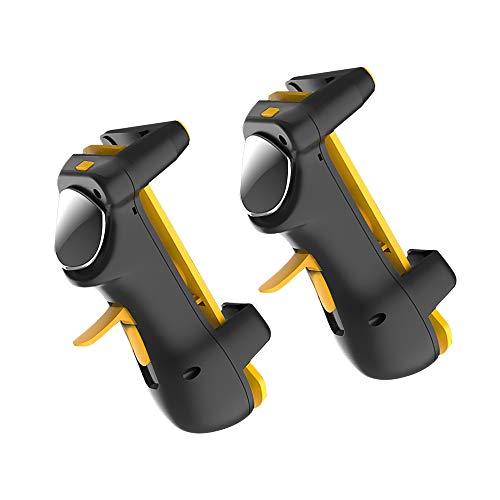 Fesjoy Manette, Controlador de tableta móvil Gamepad de juegos Conversión de frecuencia Gatillo de tableta Juego de cuatro dedos Joystick Negro + Amarillo