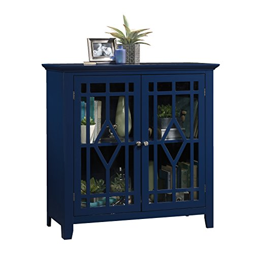 Sauder Shoal Creek Display Cabinet, Indigo Blue finish