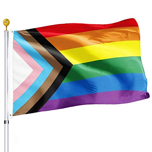 Progress Pride Rainbow Flag 3x5 Outdoor Bisexual LGBTQ Non Binary Lesbian Gay Transgender Prides Proculsexual Flags