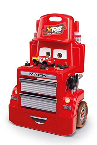 Smoby 360215 Cars XRS Mack Truck Werkstatt-Trolley, Werkstattwagen, Wagen, Werkzeug, für Kinder ab 3 Jahren, Rot