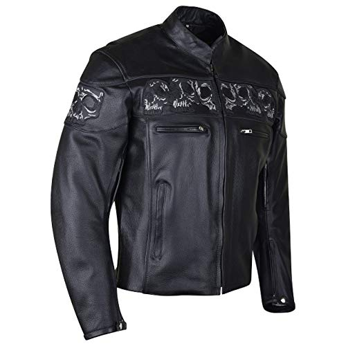 Men's Stand Up Collar Premium Motorcycle Jacket with Reflective Skulls and Inside Conceal Carry Pockets