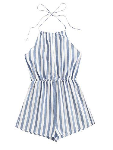SweatyRocks Women's Sexy Striped Halter Backless Short Romper Jumpsuit Blue XS