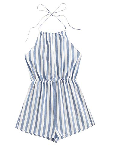 SweatyRocks Women's Sexy Striped Halter Backless Short Romper Jumpsuit Blue L