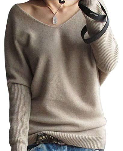 LongMing Damen Sexy Pullover (Medium, Tan)