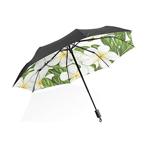Große Regenschirme Für Frauen Plumeria Tropische Blume Tragbare Kompakte Taschenschirm Anti Uv Schutz Winddicht Outdoor Reise Frauen Männer Regenschirm Kleine